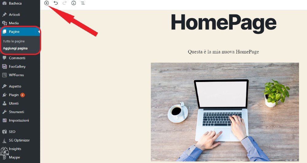 come creare una pagina con wordpress